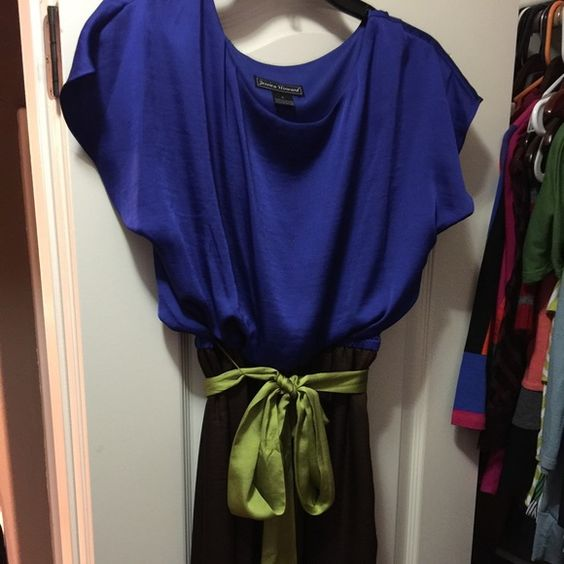 Jessica Howard Dress Satiny finish. Worn once. Blue bodice, brown skirt, green sash. Jessica Howard Dresses