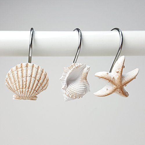 Aystuff Creative Shower Curtain Hooks 12pcs Decorative Seashell
