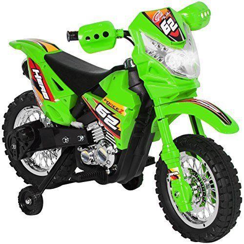 6v Electric Ride Motorcycle Dirt Bike W Training Wheels Kids Green