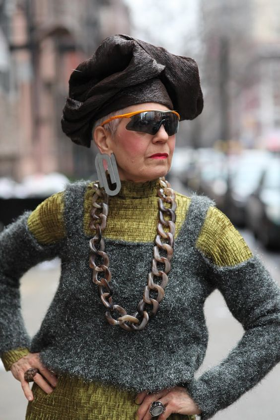 Black chef hat, check! Paper clips in ears, check! Gaudy elephant chain, check! Crazy sporty sunglasses that complete this outfit, check!: Fashion Styles, Aged Model, Street Styles, Unique Fashion Style, Chef Hats, Advanced Style Fashion, Fantastic Style, Inspiring Fashion