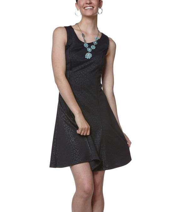 Loving this Young Threads Black Embossed Leopard Sleeveless Dress on #zulily! #zulilyfinds