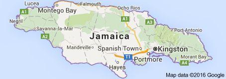 Kaart van Jamaica: