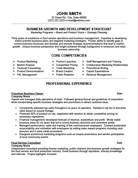 Franchise Business Owner Resume Business Resume Template Business Resume Resume Template