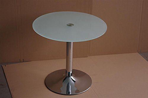 Bistrotisch Glastisch Rund satiniertes Glas Esstisch Küchentisch