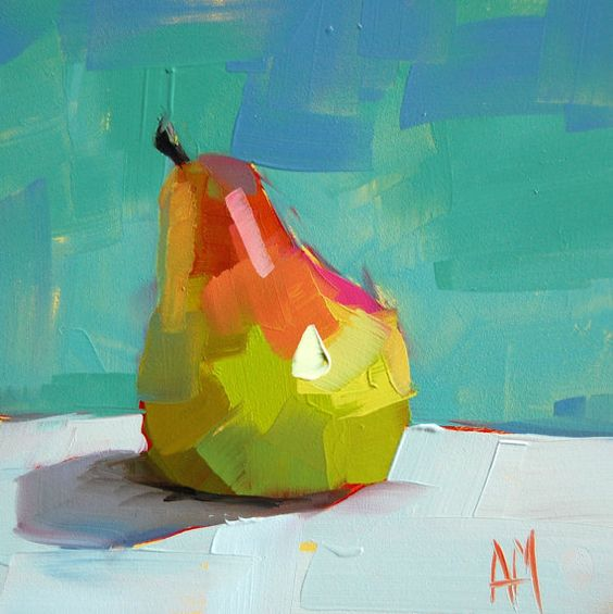 Pear no. 8 still life original oil painting by Moulton 6 x 6 inches on panel  prattcreekart