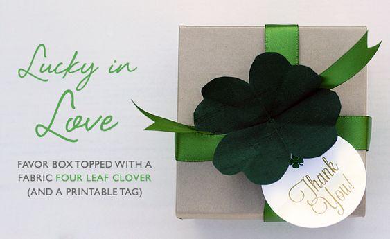 Four leaf clover favor box - DIY and printable tag