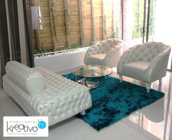 Sala Capitoneada En Blanco Perla Muebles By Mobiliario