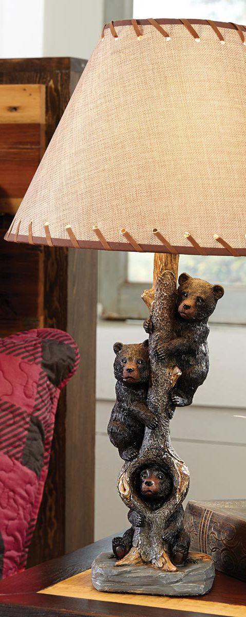 Log Cabin Lamp Bear Rustic Metal Table Lamp Cabin Lamps Rustic Table Lamps Rustic Lighting