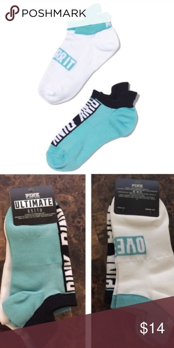"""VS PINK Socks Listing includes one pack of VS PINK ankle socks that comes with two total pairs of socks. One pair says, """"Over it"""" on the front. One size. Brand new with tags! •No Trades•No Damages• PINK Victoria's Secret Accessories Hosiery & Socks"""