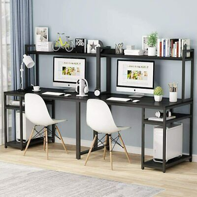 Pin On Desks, Double Desk Home Office With Hutch