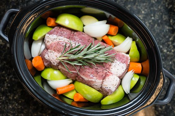 Slow Cooker Roast Pork Loin with Apples, Onions and Carrots - from Everyday Good…