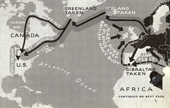 Axis Invasion - Plan Six is classic invasion down St. Lawrence and Hudson valleys. Germans could readily bomb Chicago, Detroit, Akron and rampage through Midwest. Big catch is getting past British Fleet. On all maps, black arrow alone means a feint; when combined with gray band, it means full invasion.
