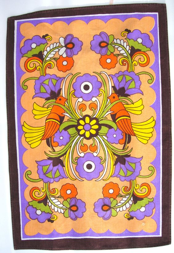 Retro 70s Folky Flower Power Birds and Flowers Cotton Tea Towel Lilac Orange Green. £14.99, via Etsy.