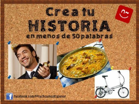 Escribe una historia donde aparezcan estas tres cosas. | Fuente: Practicamos Español (FB) de ProfeDeELE.es