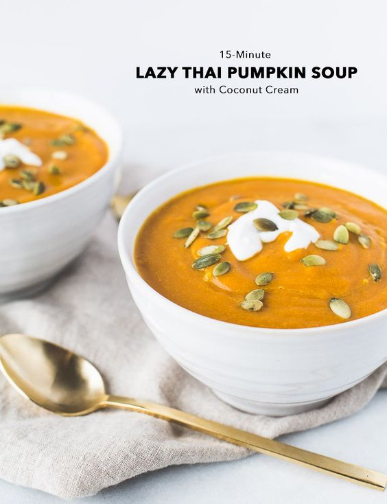 LAZY THAI GINGER PUMPKIN SOUP WITH COCONUT CREAM   Vegan + Paleo + Gluten Free   A delicious and simple recipe for a seasonal soup using canned pumpkin! While this recipe is super quick to prepare and has few ingredients, it's full of warming fall flavors—ginger, garlic, and curry. A drizzle of coconut milk and a few pumpkin seeds on top make it oh-so pretty.   Click to get the recipe!   Honestly Nourished   www.honestlynourished.com