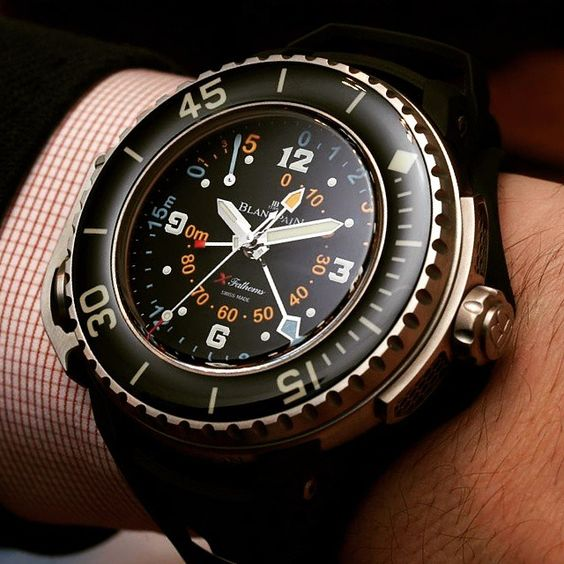 The Blancpain X Fathoms from 2011. Rated at 300m water resistance & depth meter at 90m. It's a monster at 56mm wide & 24mm thick!