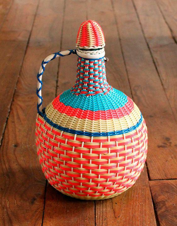 botellas trenzadas scoubidou vintage fabricadeimaginacion8