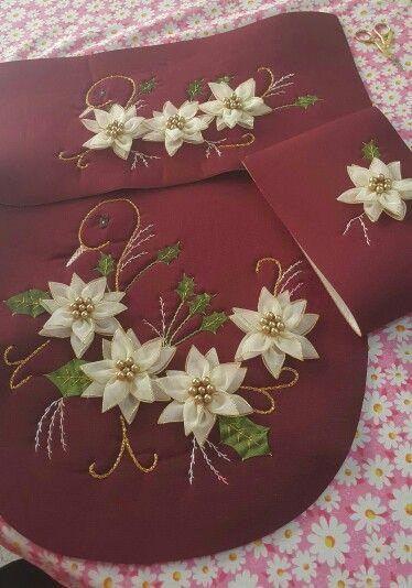 Juego De Baño Navideno Con Cinta:Navidad 2015 bordados con cintas angy presente en LISTÓN DE ORO