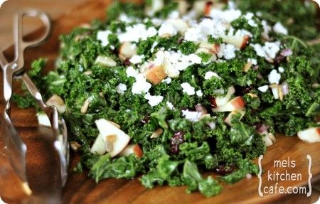 Kale and craisin salad with feta cheese!