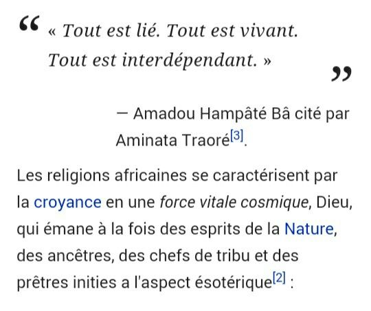 Citation et explications de croyances traditionnelles africaines