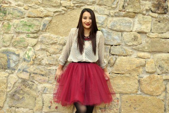Burgundy tulle skirt by Ana's Crafty Corner