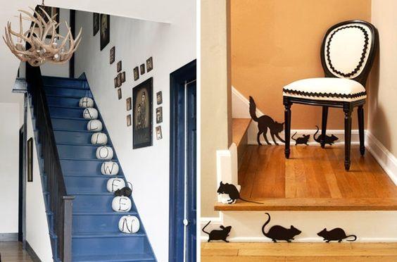 halloween deko innen treppen weiße kürbisse papier mäuse