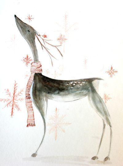 Beautiful Things..., umla: (via reindeer watercolor Stretched Canvas...
