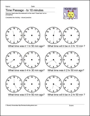 math worksheet : what time will it be  to 10 minutes  math worksheets  : Mixed Practice Math Worksheets