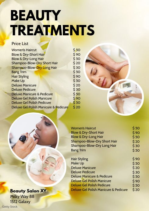 Create The Perfect Design By Customizing Easy To Use Templates In Minutes Easily Convert Your Imag Beauty Treatments Beauty Treatments Spa Price List Template