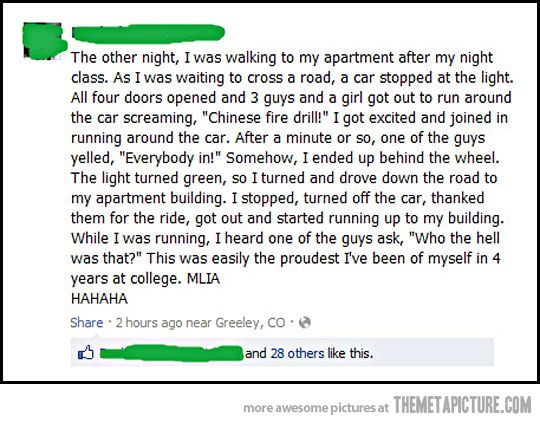 Hahahahaha!!!!! This is going on my bucket list...now I just need to find a random car doing this at a stoplight!