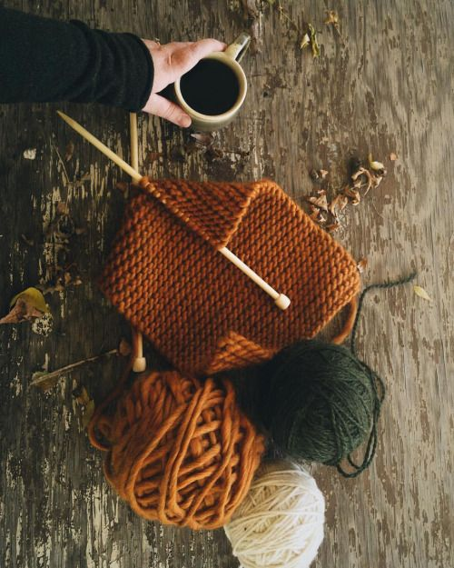"thewholesomehandbook: "" Autumn rituals: hazelnut coffee + a big, cozy knitting…"