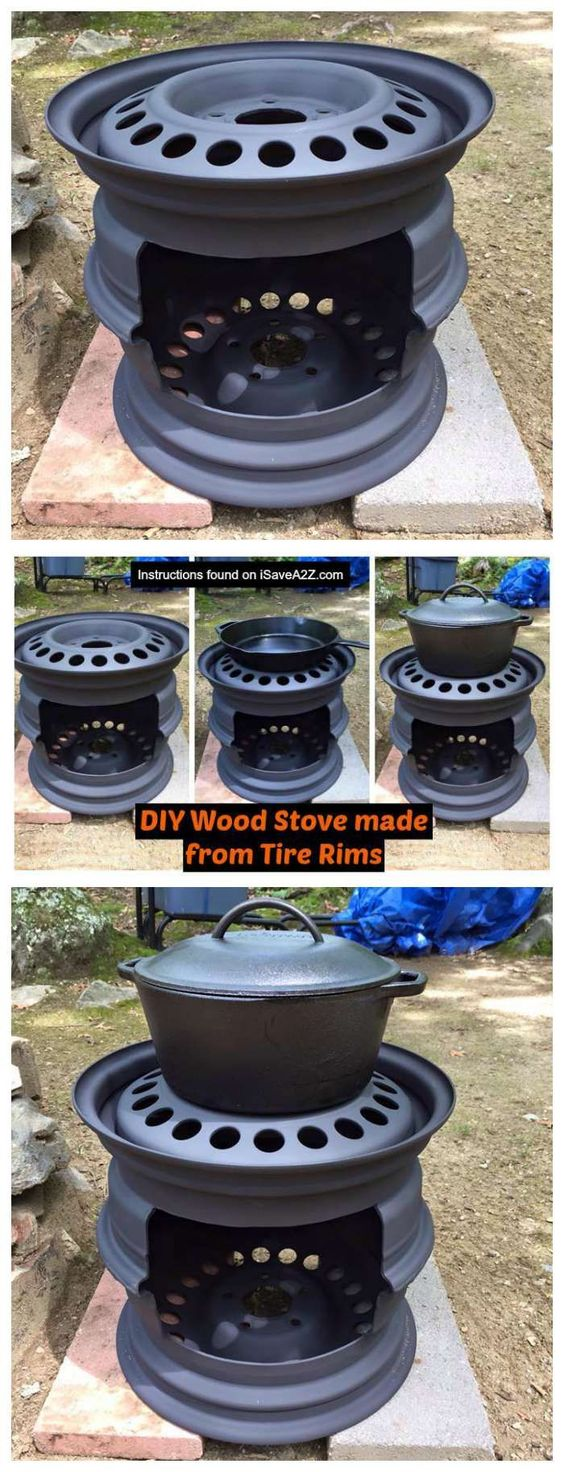 DIY Wood Stove Made From Tire Rims That I Use For My Cast Iron ...