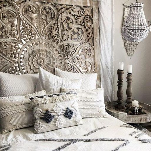 Balinese Hand Carved King Size Bed Headboard Reclaimed Wooden Panels Artwork Handmade Painted In Chiang Mai Thailand 72x72 Inches In 2020 Bedroom Design Bohemian Headboard Bohemian Bedroom Decor