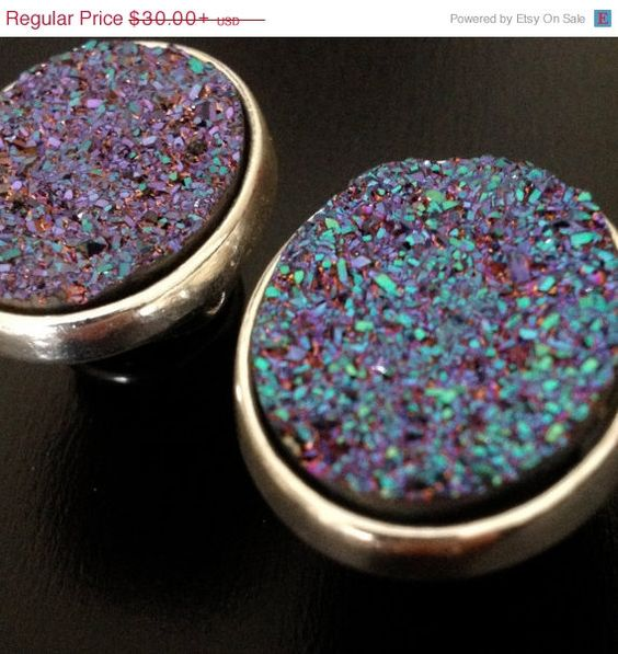 "SPRING SALE Large PURPLE and Blue (Iridescent) Shiny Druzy Gauges Plugs 1/2"" - 12mm 9/16"" - 14mm 5/8"" - 16mm"
