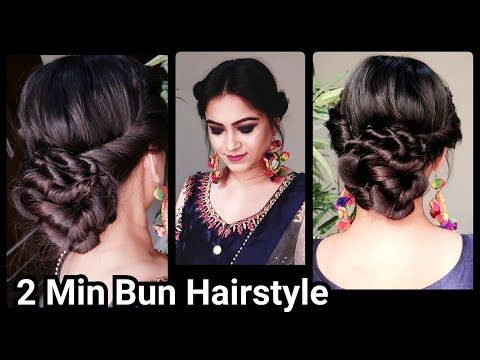 2 Min Indian Bun Hairstyle For Diwali Easy Hairstyles For Medium To Long Hair Party Hairstyle Yo Indian Bun Hairstyles Bun Hairstyles Traditional Hairstyle