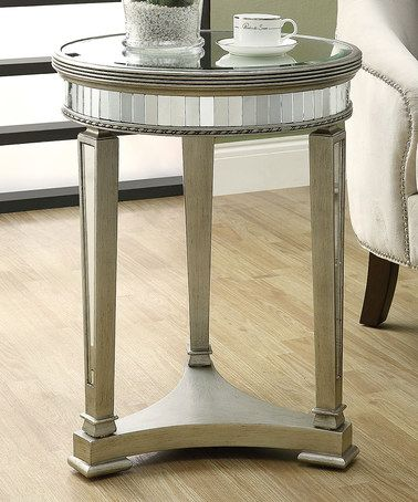 Look what I found on #zulily! Brushed Silver Mirror Round Accent Table #zulilyfinds