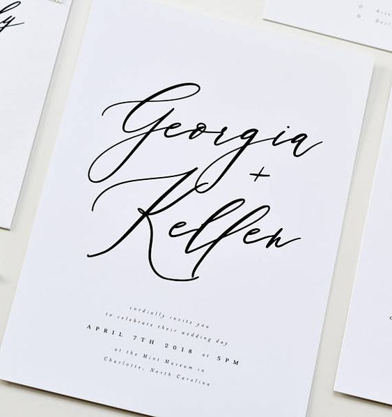 This modern yet whimsical invitation suite features a handwritten calligraphy type with classic serif accents. This suite can be customized to fit any wedding style, including a change in color palette. *Insert cards are an additional $1.00 per print. ------------------------ PRINTED
