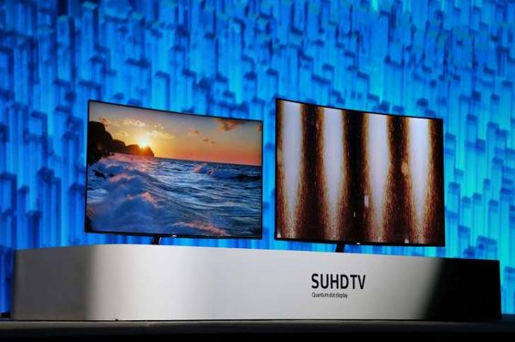 Samsung SUHGTV Quantum Dot Display television screens are shown onstage at a press conference on CES Press Day, January 5, 2016 in Las Vegas, Nevada  at the CES 2016 Consumer Electronics Show.