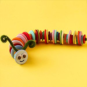 Make a button caterpillar out of buttons and chenille stems.