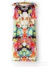 2015 New Arrival Cute Sheath Print Sleeveless Tank Empire O-neck Above Knee, Mini Chiffon Summer Dresses floral dress