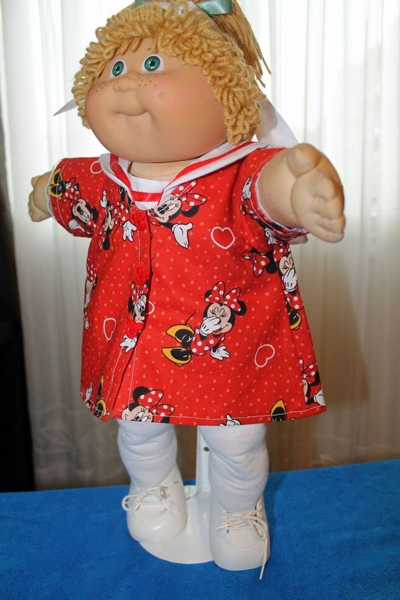 "Cabbage Patch Doll Cloths -Minnie Mouse - Red, Leggings - neck tie  fits 16"" #HandmadeDollCloths #ClothingAccessories"