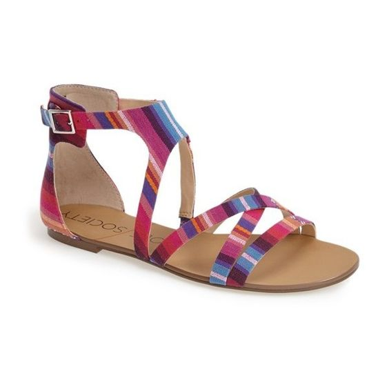Sole Society 'Simona' Sandal (4,235 INR) ❤ liked on Polyvore featuring shoes, sandals, fushcia, leather shoes, ankle strap shoes, ankle tie sandals, leather ankle strap sandals and vintage shoes