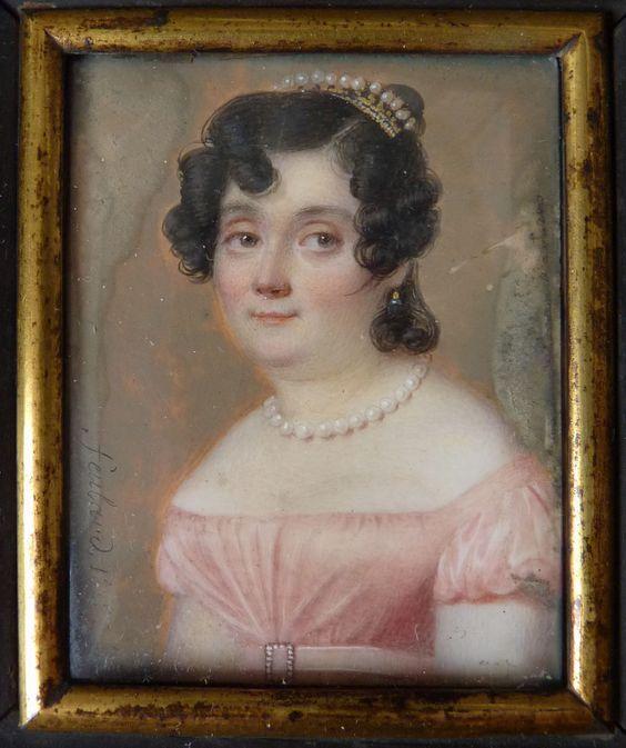 Peinture miniature de Jean-Pierre FEULARD (1790-1849) portrait femme daté 1823