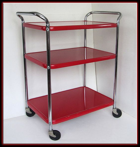 Vintage 60s Mid Century Modern Red Cosco 3 Shelf Metal Bar Utility Cart Kitchen Carts