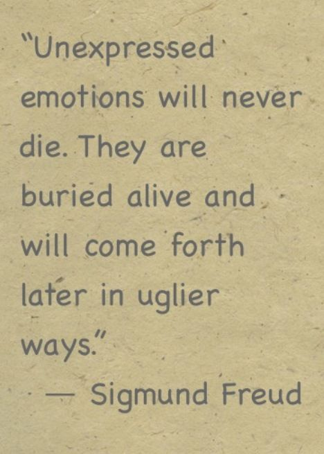 Unexpressed emotions will never die. They are buried alive and will come forth... | Sigmund Freud Picture Quotes | Quoteswave