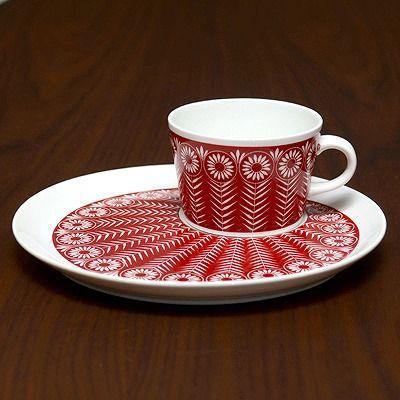 北欧アンティーク食器赤いティーセット