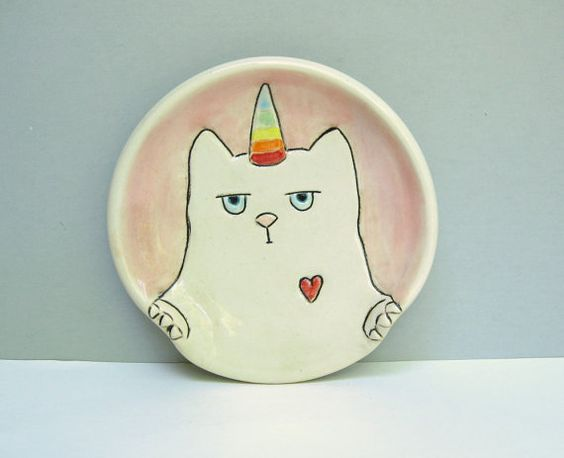 Ceramic Spoon Rest, Pink with White Cat, Surly Kitty Caticorn, For The Kitchen, Animal pottery, Rainbows, Unicorns, Cat Lovers Gift