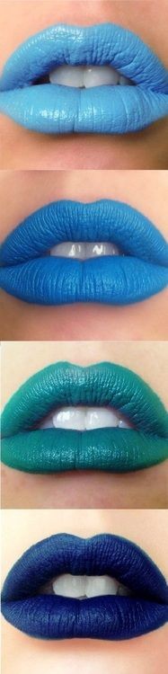 multiple lips art colors blasting blue hue