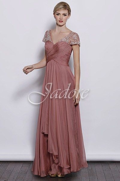 J3053 Jadore Bridesmaid Dress - An elegant floor length bridesmaid dress with a v-neckline, ruched bust and cap sleeves with beaded detail.