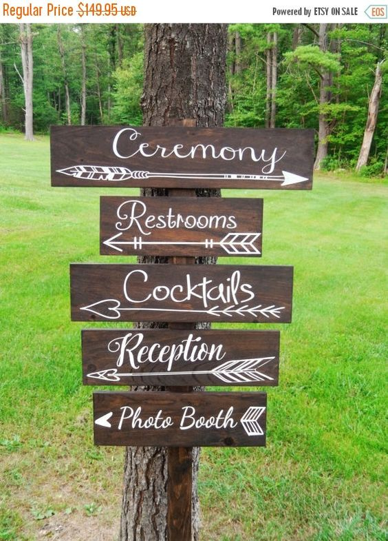 Sale Five  Wedding Arrow Directional Signs by CypressandWhim